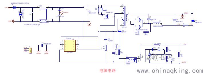 变压器,tlp432和其他阻容电路组成的反激式隔离电源,电源电路输入端为