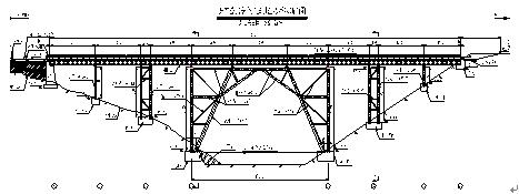 桥面系为工钢横向布设,上铺花纹钢板,主跨墩柱采用刚构下传荷载至基础
