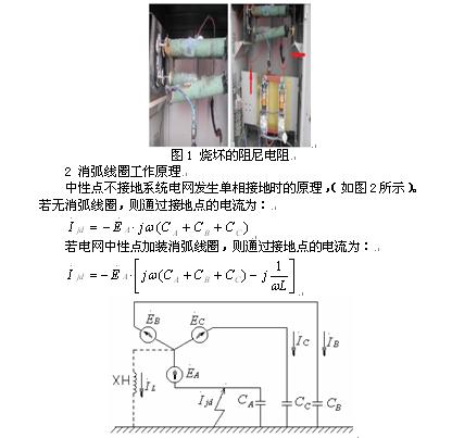 打开阻尼箱控制柜,发现消弧线圈阻尼电阻已烧坏(如图1所示),立即通知