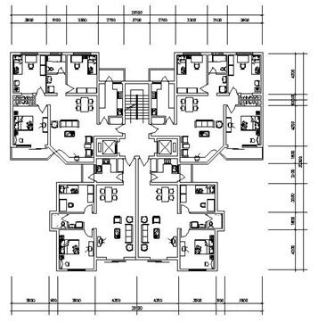小高层一梯四户户型; 塔式高层住宅户型图图片分享_效果图大全;