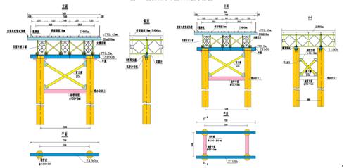 图3  便桥柔性墩横断面结构布置示意图(单位:m