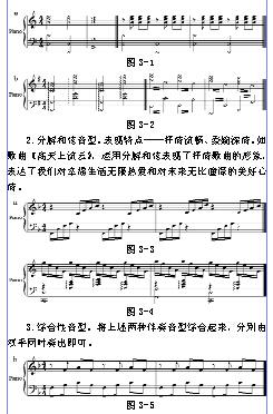"""周春丽 福建省寿宁县第二中学 355501   摘 要:钢琴即兴伴奏作为一门新兴、独立的学科课程,随着时代的发展和教学改革的深入,已经越来越明显地体现出自身的价值和特色。从学校课堂和校外大量的群众音乐艺术活动中可以看出,它具有很强的适应性与适用性。为了音乐专业学生能更好地运用这门学科技能,我针对抒情性歌曲这一常见体裁,来研究它们在即兴伴奏上的布局处理。   关键词:抒情歌曲 即兴伴奏 和声   一、钢琴即兴伴奏的重要性   """"红花也要绿叶衬"""",而伴奏就是这个""""绿叶&rd"""