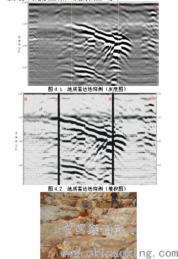 探地雷达方法是通过发射天线向地下发射高频电磁波,通过接收天线接收