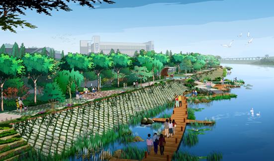 设计时与滨江绿地统一考虑,把它设计成生态湿地园,主要体现珠三角地区图片