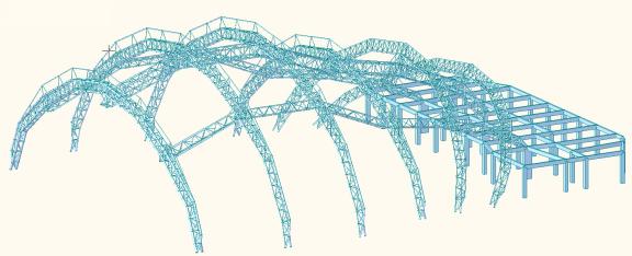 大跨度拱形钢结构稳定及支座设计
